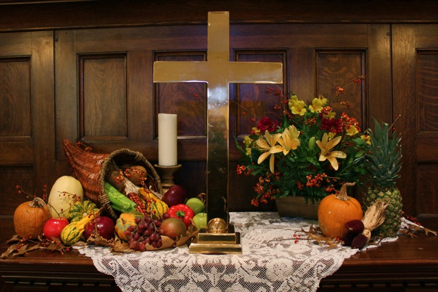 Church Alter Flowers Thanksgiving